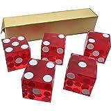 5X Rouge NEUF 19mm Précision pour Casino dés/Craps Superbe