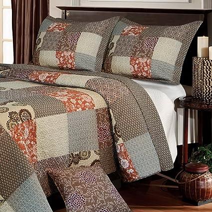Amazon Com Contemporary Neutral Bedding Reversible Patchwork Cotton