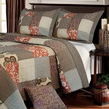Amazon.com: Contemporary Neutral Bedding Reversible Patchwork ... : patchwork king quilt - Adamdwight.com