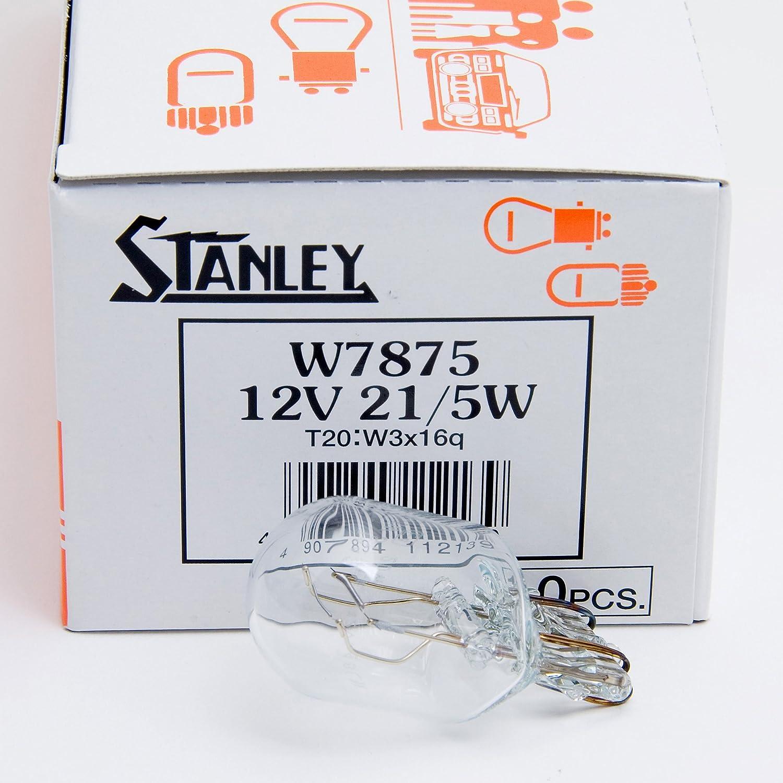 Amazon.com: Stanley W7875 12V 21/5W T20 W3X16Q Clear Auto Bulb Plain Box: Automotive