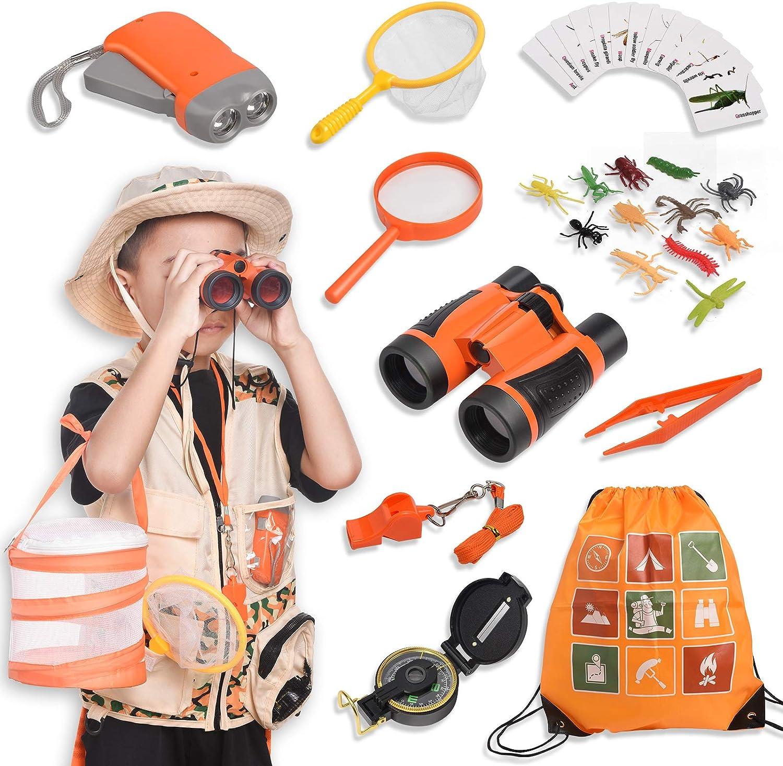 Joyjoz Kit de Binoculares para Niños, Kit Explorador niño con Prismaticos niños, Juego de rol con Tela y Sombrero, Linterna, Brújula, Caja de Insectos(37 Piezas)