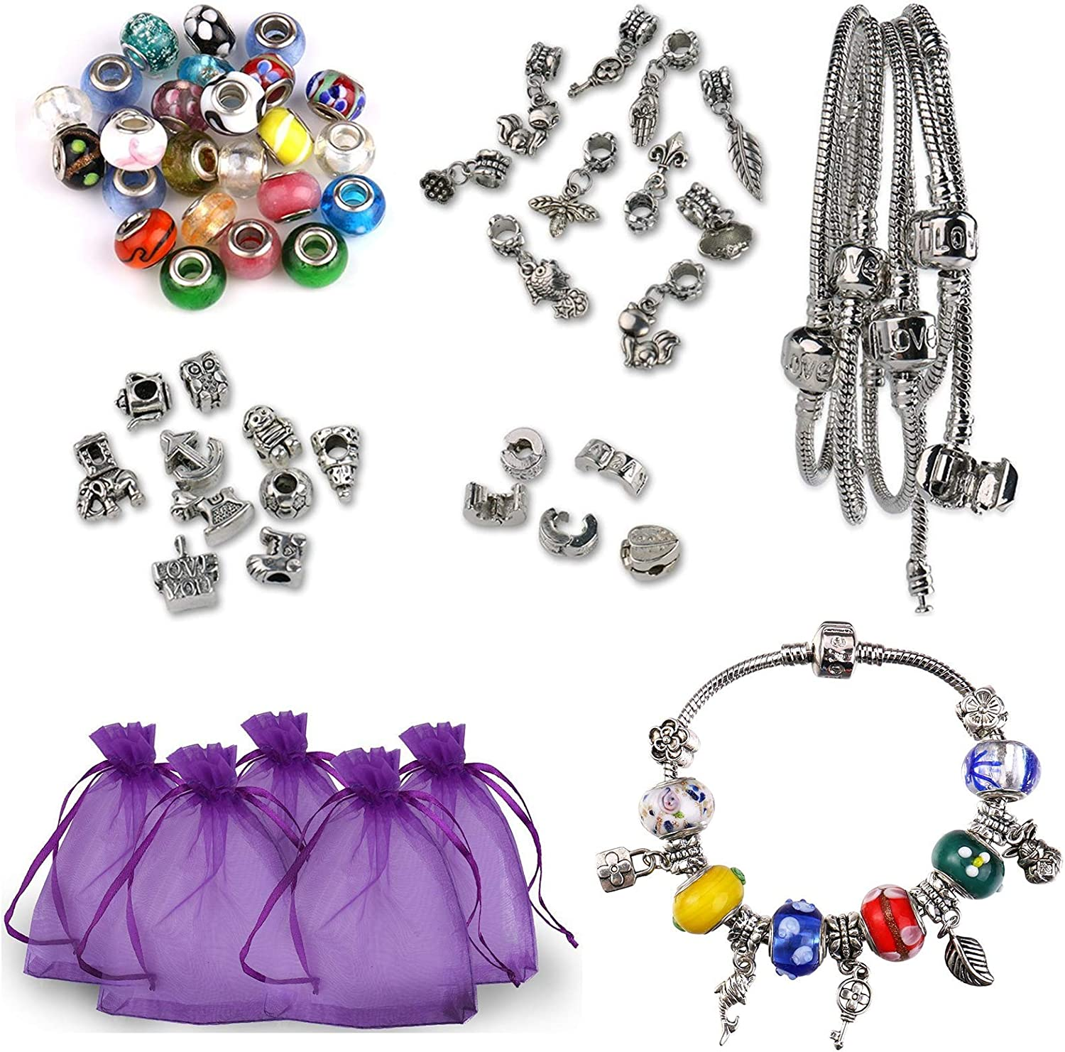 Luxbon 5 x Handmade European Styles Charm Bracelets Making Kit Murano Glass Bead Silver Plated Snake Chain Bracelet for Womens Girls Party Jewelry DIY Gift