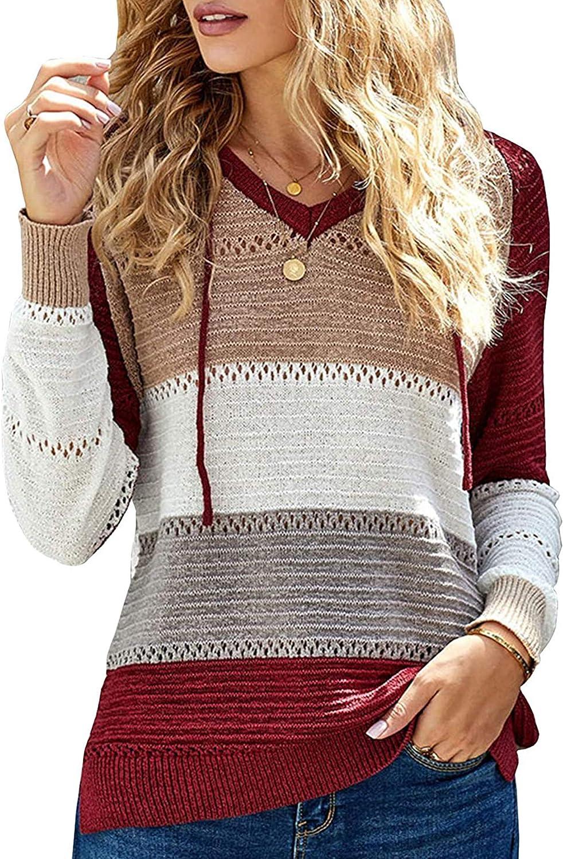 Besshopie Women's Lightweight Color Block Hooded Sweaters Drawstring Long Sleeve Hoodies Knitted Pullover Sweatshirts