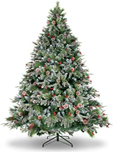 WBHome XMT-0001-60 6 Feet Snow Flocked Premium Spruce Hinged Artificial Christmas Tree, 800 Branch Tips with Pine Cones, 6ft, Unlit, Green