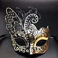 CCUFO Masque de Femme vénitien Mascarade - Papillon doré, Convient aux fêtes, Danse de Bal, Carnaval, Mariage, décoration Murale