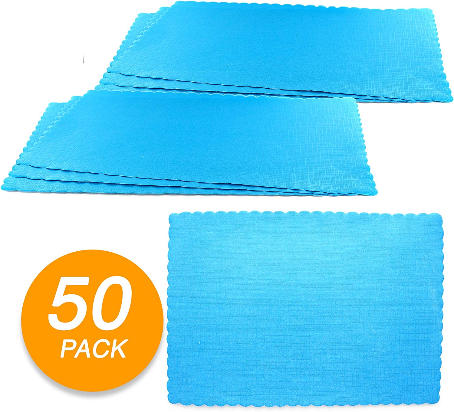SparkSettings Disposable Paper Placemat for Dining Table Easy to Clean Made of Paper Great for Various Party, Events, Festivals or Occasions - Caribbean Blue (50/Pack)