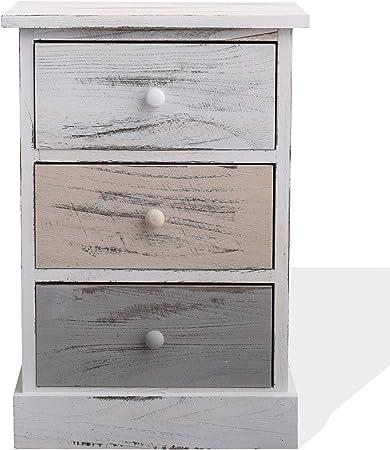 Comprar Rebecca Mobili Cómoda decapada, mesita de Noche con 3 cajones, Madera de paulonia, Gris Beige Blanco, Estilo Retro, Cuarto de baño - Medidas: 53,5 x 40 x 29 cm (AxANxF) - Art. RE4263