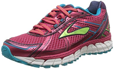 Brooks Women's Adrenaline GTS 15, Raspberry/LimePunch/Bluebird, 5 B(M
