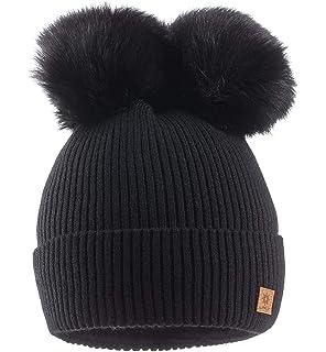 Pack de 2 Sombreros de Punto para Padres e Hijos,STRIR Gorro Beanie Suave Piel sint/ética Doble Pom Hairball de Invierno de esqu/í para Madre y ni/ño