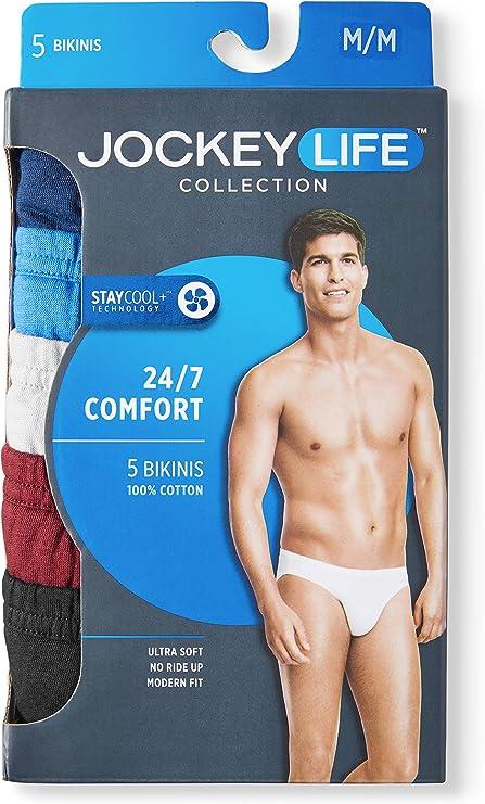 Large 36-38 Inches Jockey Life 3-Pack// of Men/'s 100/% Cotton Bikini Briefs