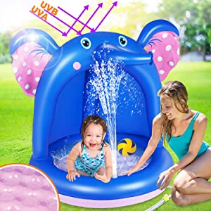 ROYI Inflatable Baby Pool, Elephant Baby Splash Pool with Canopy Extra Soft Bubble Base for Kids Toddlers, Spray Water Fun Summer Blow Up Shade Pool for Outdoor and Indoor