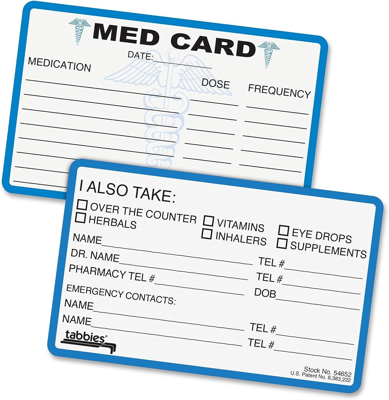 25 Cards//Pack 2-1//8H x 3-3//8W Folded Medical Alert Cards Blue//White Med Medical Emergency