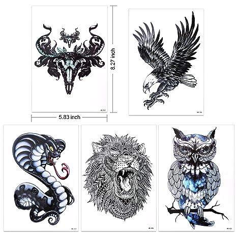 d51f71b648760 ... Tattoo for Guys for Man - Konsait Extra Fake Temporary Tattoo Black  tattoo Body Stickers Arm Shoulder Chest & Back Make Up - Lion, Dead Skull, Koi  Fish, ...