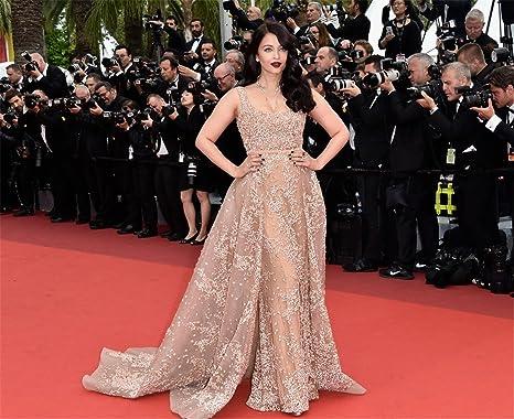 Amazon.com  Newdeve Stylish Beading Champagne Maxi Formal Dresses Train   Clothing 372dadb77