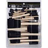 CONDA 50-Piece Assorted Foam Brush Set Wood Handle Paint Brush Set Lightweight, Durable, Great for Acrylics, Stains, Varnishes, Crafts