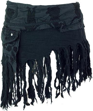 Guru-Shop, Goa Mini Falda, Falda del Abrigo, Cacheur, Negro ...