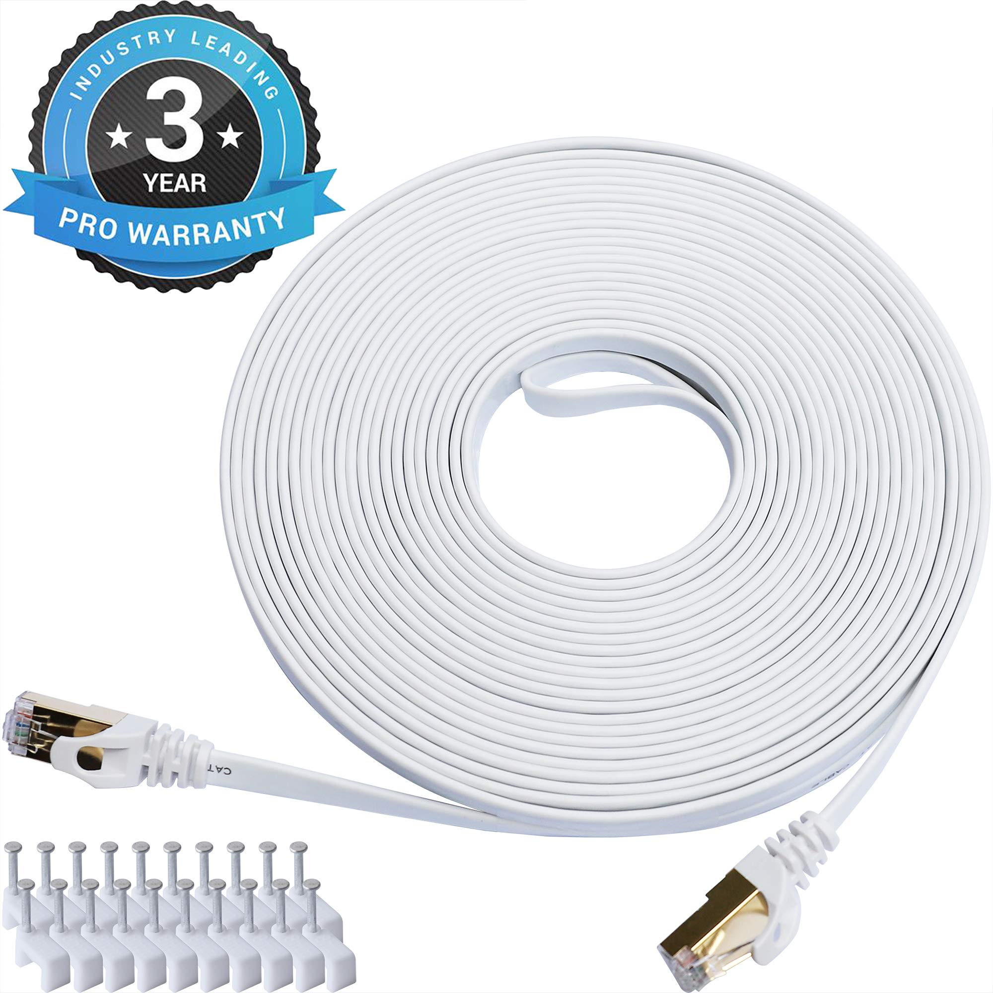 Cat 7 Ethernet Cable 50 ft LAN Cable Internet Network Cord for PS4, Xbox, Router, Modem, Gaming, White Flat Shielded 10 Gigabit RJ45 High Speed Computer Patch Wire. by DEFACE