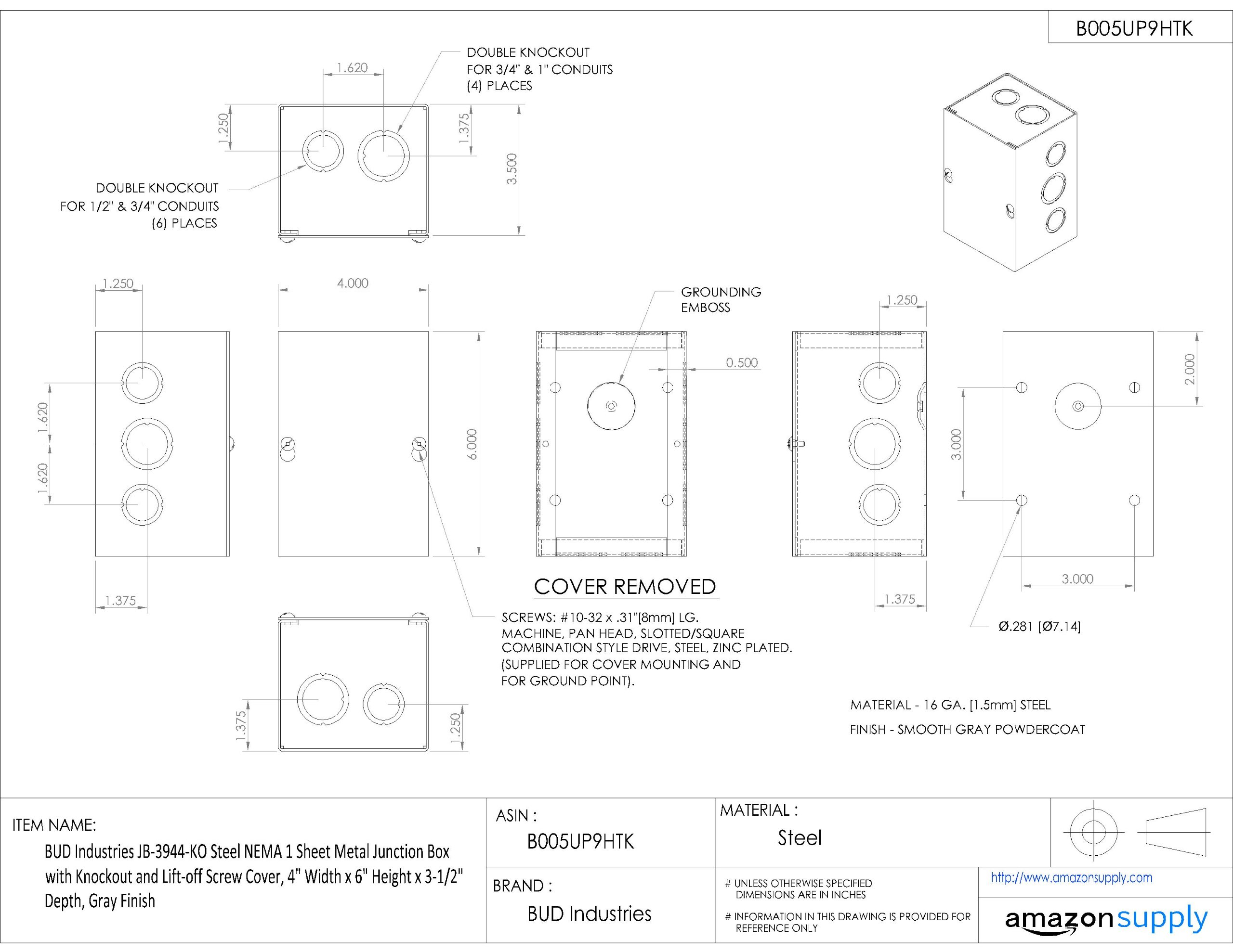 BUD Industries JB-3944-KO Steel NEMA 1 Sheet Metal Junction Box with Knockout and Lift-off Screw Cover, 4'' Width x 6'' Height x 3-1/2'' Depth, Gray Finish