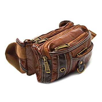 133fe532feed Buy Xelay Travel Bum Bag Waist Pouch Unisex Holiday Festival Hip Bumbags 6  Zipper Pockets - Brown Tan Online at Low Prices in India - Amazon.in