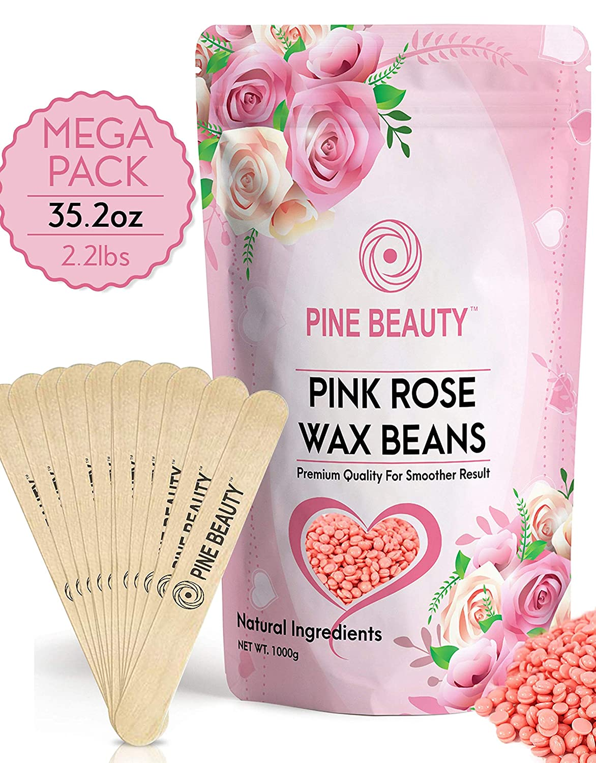 Wax Beans - Hard Wax Beads Kit for Painless Hair Removal 35.27 oz/ 2.2 lb Necessities With 10 Extra Waxing Spatula Applicator for Use With Wax Warmer and Brazilian Wax: Wax Refill 1kg / (Pink Rose)