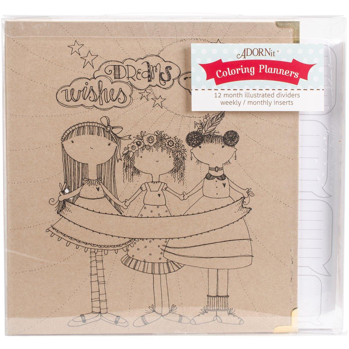 Adorn-It 81030 Art Play Kraft 3 Ring Binder Planner, 8'' x 10'', Calendar Girls, Brown