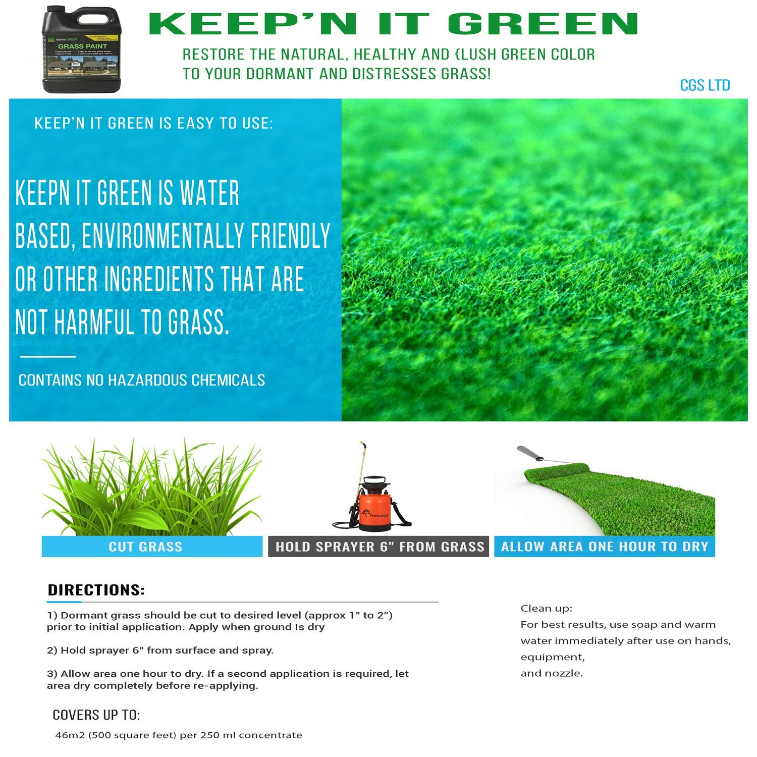 Amazon com: 1000 sq ft 34 oz Keep'N It Green Grass Turf