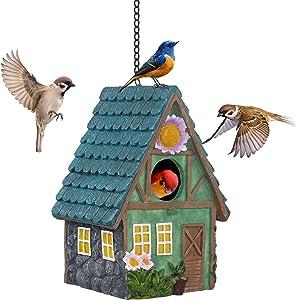 Banllis Hanging Birdhouse, Decorative Resin Bird House for Outdoor, Hand Crafted Bird Nest Garden Farmhouse Decor for Wild Birds, Hummingbird, Cardinal, Finch, Bluebird