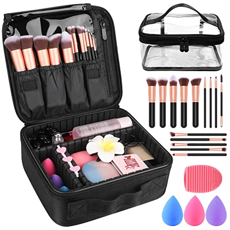 "Makeup Travel Case, With Diy Adjustable Divider Cosmetic Train Bag 10.3"" Organizer Perfect Set Contain 14pcs Premium Makeup Brushes 3 Pcs Makeup Sponge Transparent Travel Bag Makeup Brush Cleaner by Tophie"