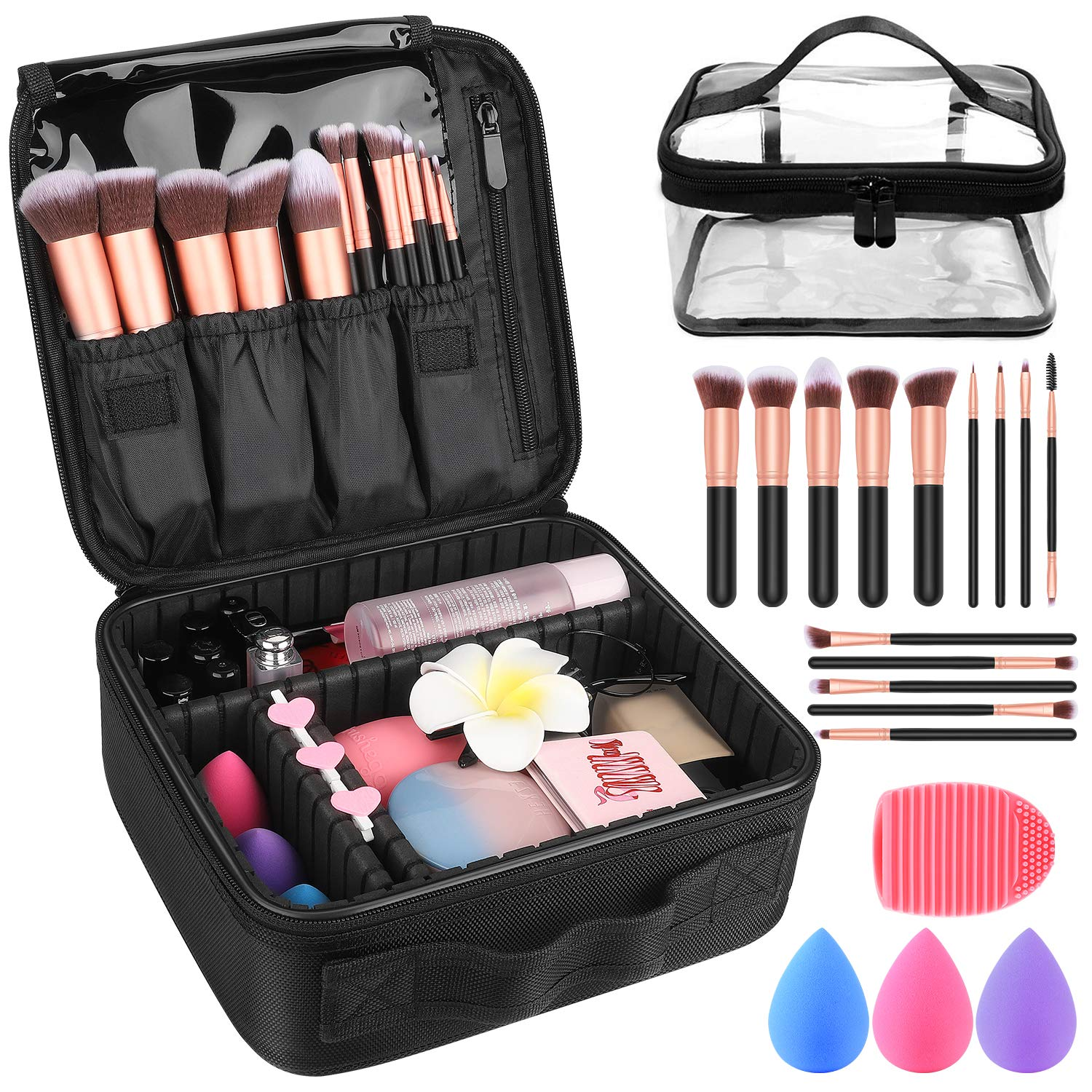 Makeup Travel Case, with DIY Adjustable Divider Cosmetic Train Bag 10.3'' Organizer Perfect Set Contain 14pcs Premium Makeup Brushes 3 pcs Makeup Sponge Transparent Travel Bag Makeup Brush Cleaner