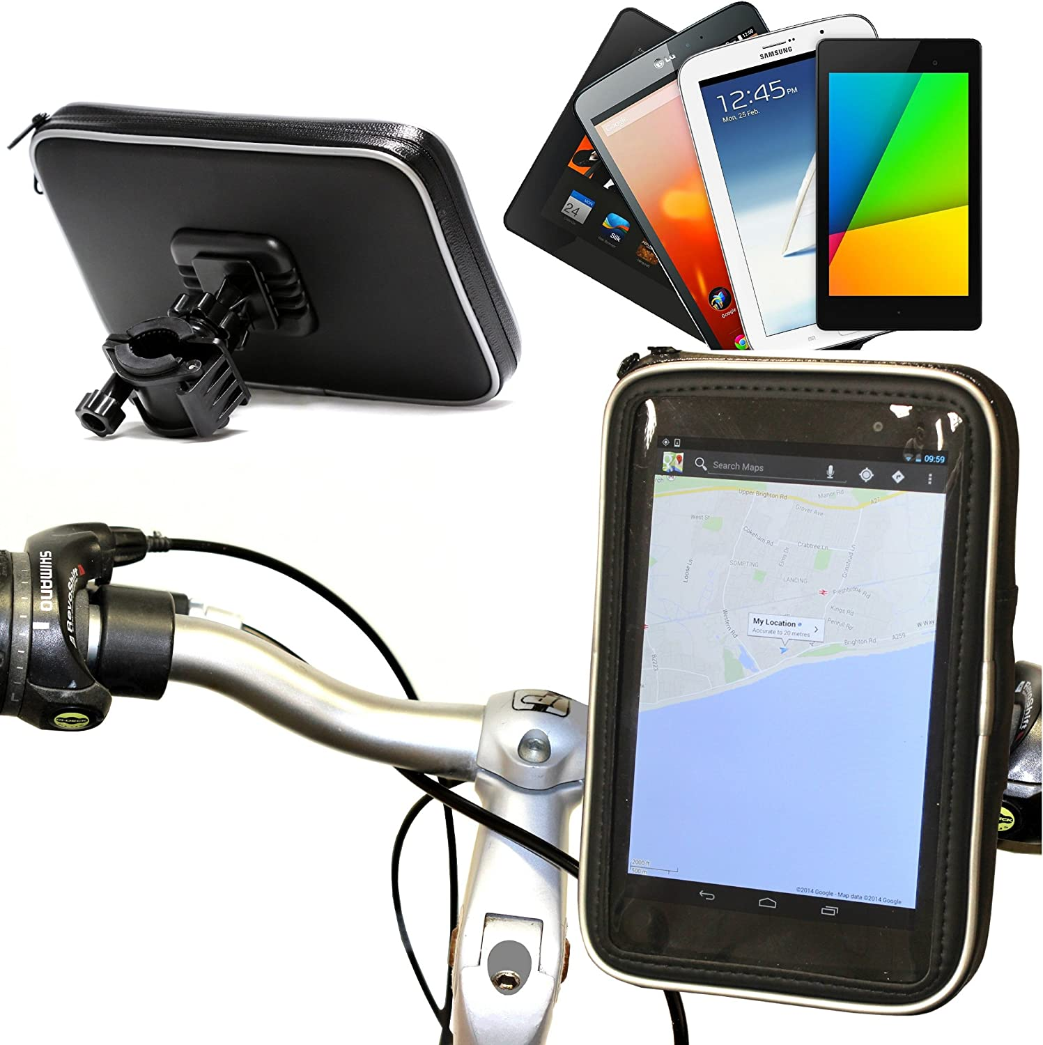 Navitech Cycle//Bike//Bicycle Waterproof Holder Mount And Case Compatible With The it British 7 Tablet PC//IT WORKS/TM707