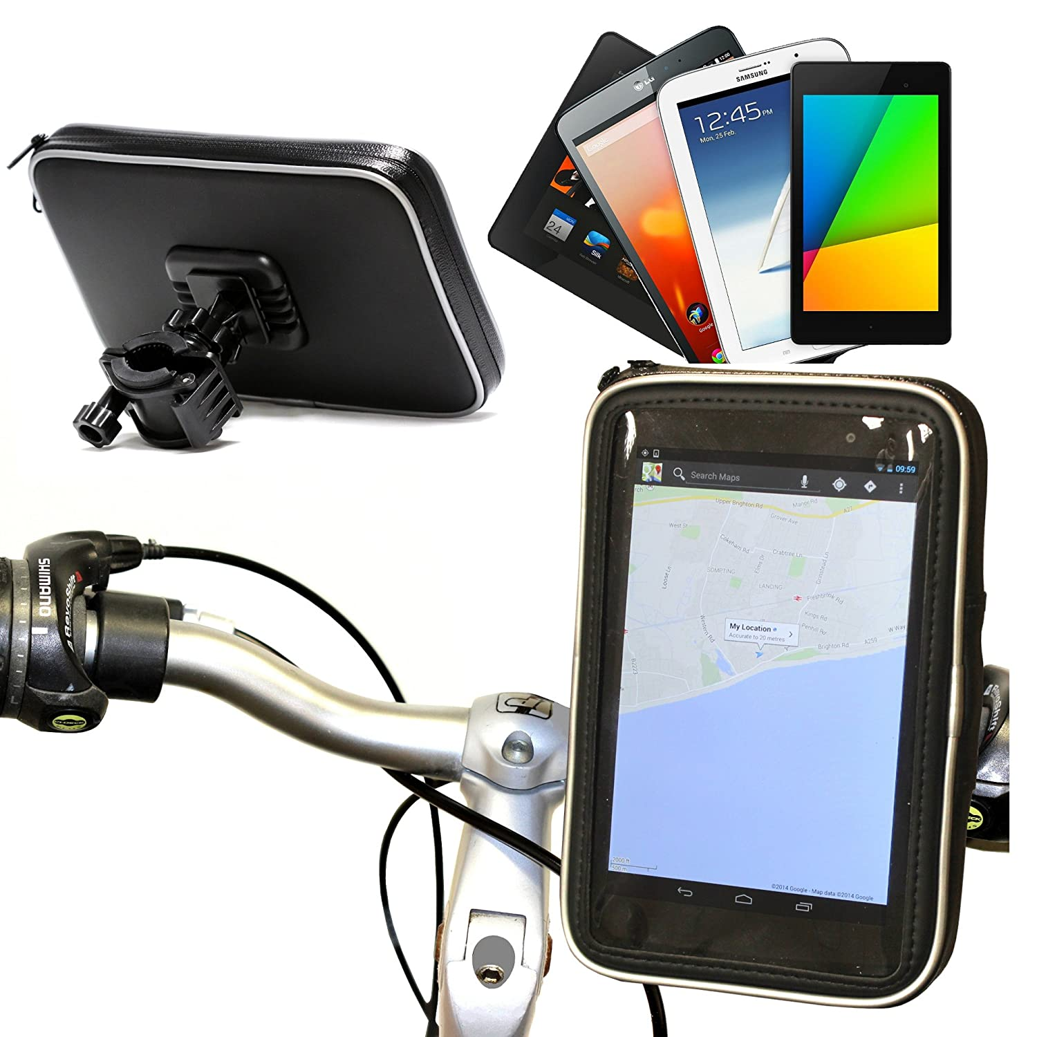 Motorbike & Bicycle Mount And Protective Water Resistant Case Suitable for all 7' Devices Including TomTom, Garmin, Navman, Navigon, eReaders, And Phone Brands. Including: Garmin Nuvi 2595lmt, Samsung Galaxy Tab P1000 & P1010, Eken 7' inch Google Android T