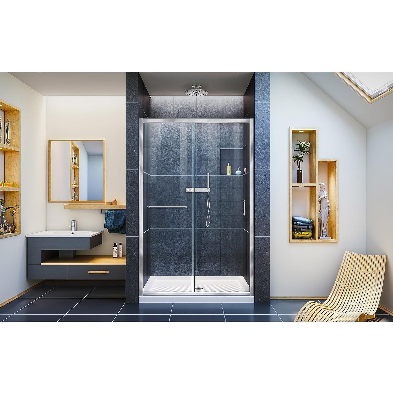 H Semi-Frameless Sliding Shower Door W x 72 in SHDR-0948720-01 DreamLine Infinity-Z 44-48 in Clear Glass in Chrome
