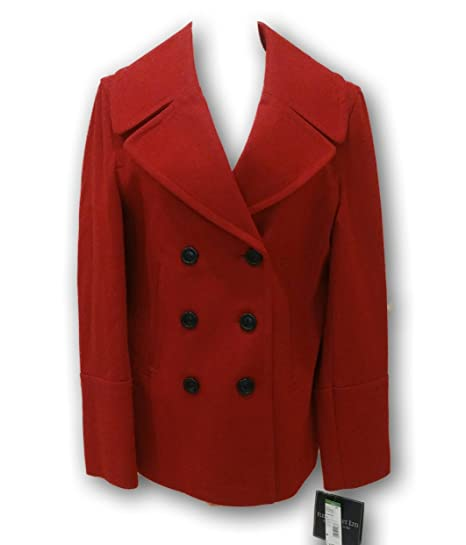 8cb0e239d56 Fleet Street Ltd Tango Red Double Notch Pea Coat Medium (Peacoat ...