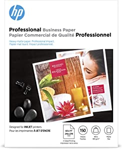 HP Brochure Inkjet Paper, 8.5x11, Matte, 150 Sheets, 180 Gram CH016A,White