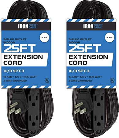 8 Ft Extension Cord with 3 Electrical Power Outlet 16//3 Durable Black Cable