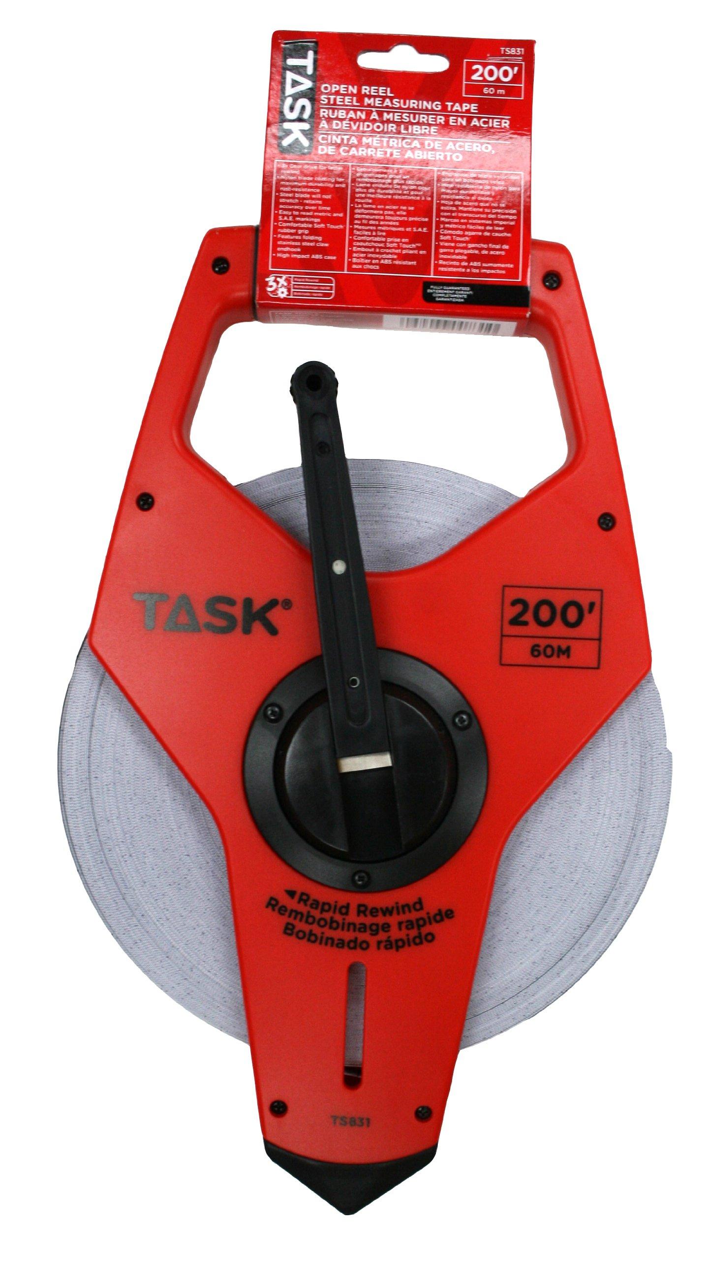 Task Tools TS831 200-Feet Open Reel Fiberglass Tape Measure, Nylon-Coated with  3X Gear Drive