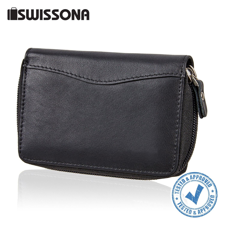 SWISSONA Cartera Premium Hombre con Compartimentos para Tarjetas y Monedero, en Negro | Billetera, Monedero, Tarjetero: Amazon.es: Equipaje
