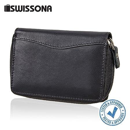 SWISSONA Cartera Premium Hombre con Compartimentos para Tarjetas y Monedero, en Negro | Billetera, Monedero, Tarjetero