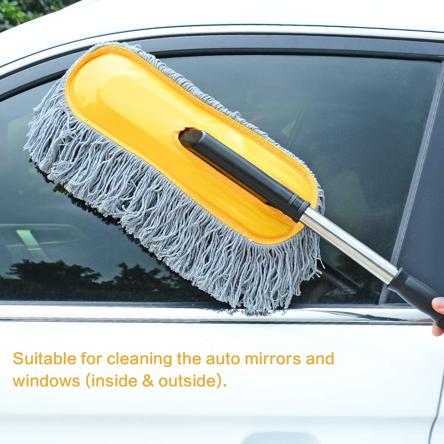 Happy Road Car Duster, Multipurpose Car Brush Duster - Quick & Easy Remove Dust and Pollen, Car Duster with Extendable Handle, Car Cleaning Duster for Interior Exterior Use - Lint Free - Scratch Free