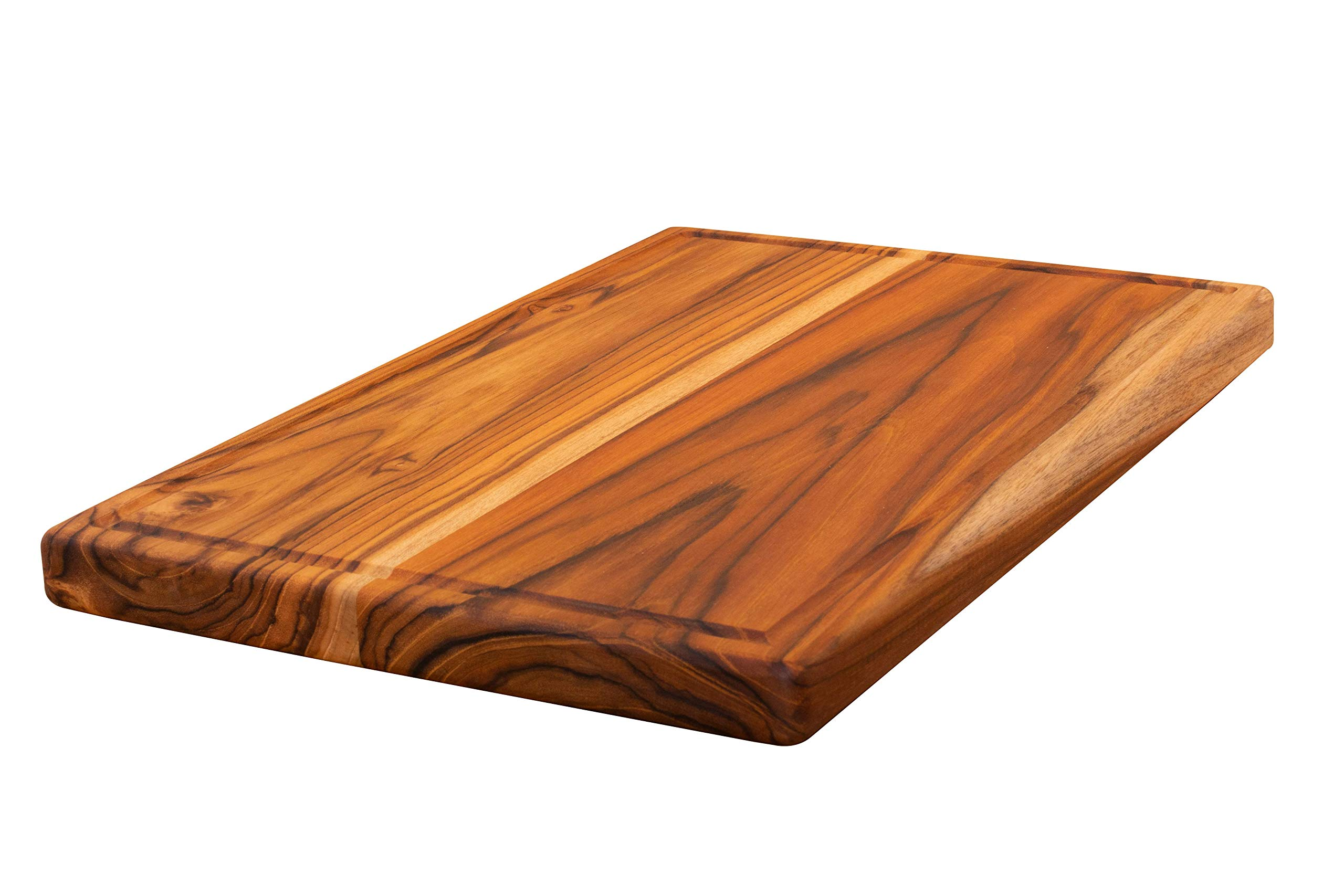Large Reversible Teak Wood Cutting Board - Chopping Block and Hardwood Serving Tray with Juice Groove (17x11x1 Inches) by Ziruma