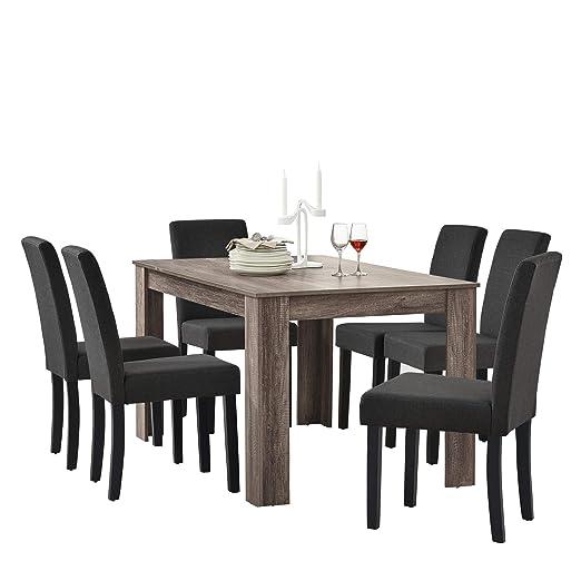 en.casa] Set de Comedor Elegante Mesa de diseño Roble Antiguo con ...