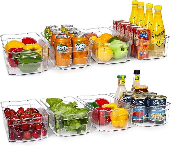 HOOJO Refrigerator Organizer Bins - 8pcs Clear Plastic Bins For Fridge, Freezer, Kitchen Cabinet, Pantry Organization, BPA Free Fridge Organizer, 12.5