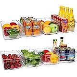HOOJO - 8 cubos de plástico transparente para nevera, congelador, gabinete de cocina, organización y almacenamiento de despen