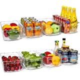 HOOJO Refrigerator Organizer Bins - 8pcs Clear Plastic Bins For Fridge, Freezer, Kitchen Cabinet, Pantry Organization, BPA Fr