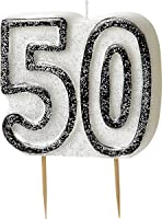 BLING Party Decorations and Tableware for 50th Birthday in BLACK & SILVER Glitz (50th Candle)