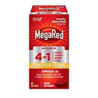 Omega-3 Fish & Krill Oil Supplement 900mg - MegaRed Advanced 4in1, 60 softgels, 2x More Omega-3, Heart, Joint, Brain and Eye Supplement