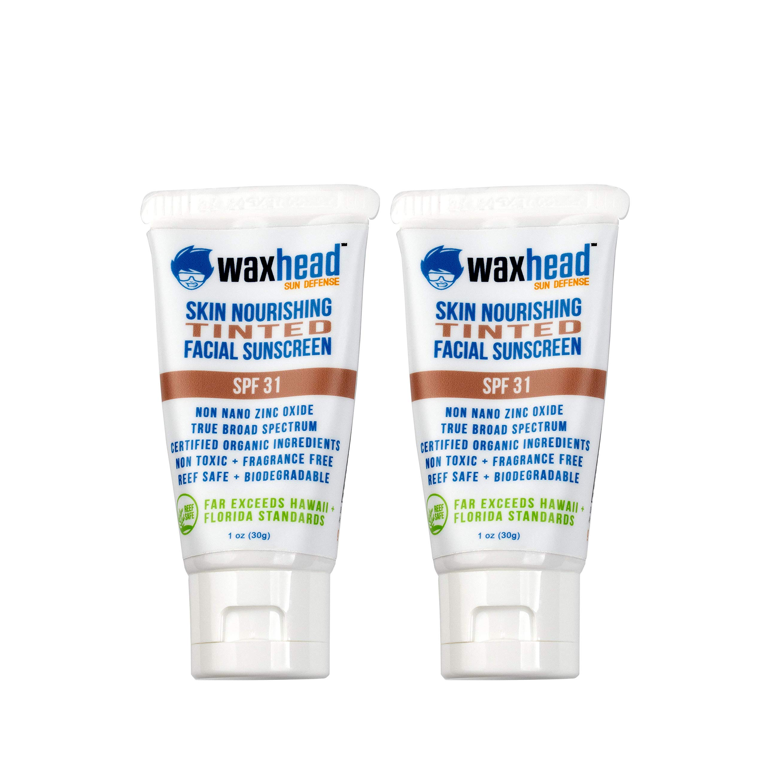 Waxhead Tinted Facial Sunscreen - Non-Toxic, Safe, Non-nano Zinc Oxide, Natural Mineral, Anti-aging Lotion, SPF 31 (1oz, 2-pack, Light to Medium skin)