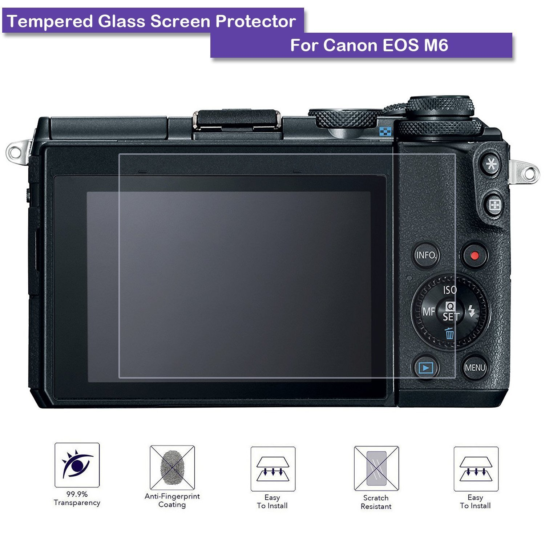 9b1615d41ef9 Amazon | MOTONG Canon EOS M6のための強化ガラススクリーンプロテクター、9Hの硬度、0.3mmの厚、実際のガラス製造 |  カメラ用液晶保護フィルム 通販