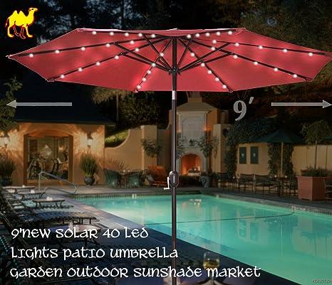 Amazon.com : STRONG CAMEL 9u0027NEW SOLAR 40 LED LIGHTS PATIO UMBRELLA GARDEN  OUTDOOR SUNSHADE MARKET BURGUNDY : Umbrella With Solar Lights : Garden U0026  Outdoor