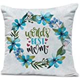 "Tied Ribbons 'Birthday Gift for Mother World's Best Mom' Printed Satin Cushion with Filler - 12""X12"""